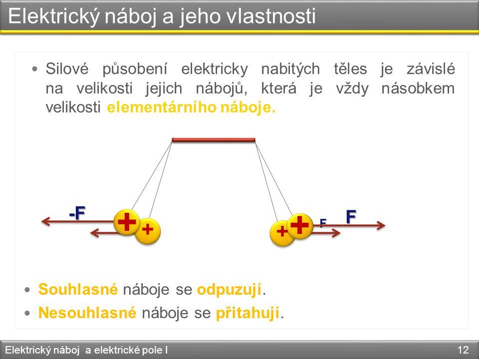 Elektrický náboj a jeho vlastnosti Elektrický náboj a elektrické pole I 12  Silové působení elektricky nabitých těles je závislé na velikosti jejich
