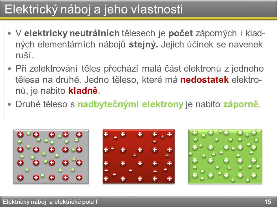 Elektrický náboj a jeho vlastnosti Elektrický náboj a elektrické pole I 15  V elektricky neutrálních tělesech je počet záporných i klad- ných element