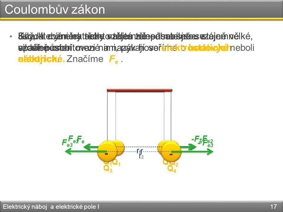 Coulombův zákon • Každá dvě elektricky nabitá tělesa na sebe vzájemně silově působí. Elektrický náboj a elektrické pole I 17 r -- -F e FeFe Q1Q1 Q2Q2