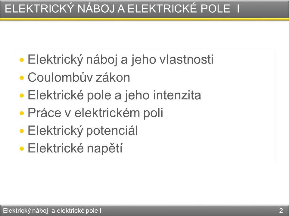 ELEKTRICKÝ NÁBOJ A ELEKTRICKÉ POLE I  Elektrický náboj a jeho vlastnosti  Coulombův zákon  Elektrické pole a jeho intenzita  Práce v elektrickém p