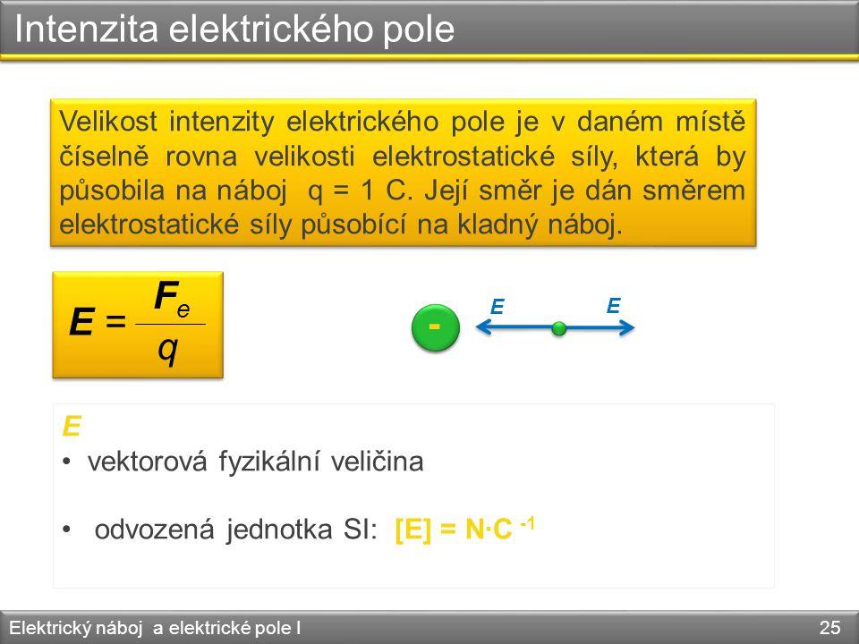 Intenzita elektrického pole Elektrický náboj a elektrické pole I 25 E • vektorová fyzikální veličina • odvozená jednotka SI: [E] = N·C -1 q E = F e Ve