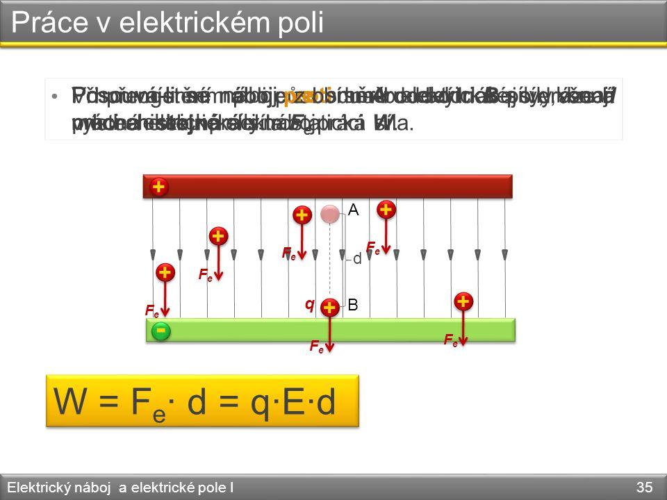 Práce v elektrickém poli Elektrický náboj a elektrické pole I 35 • V homogenním poli působí na bodový náboj ve všech místech stejná elektrostatická sí