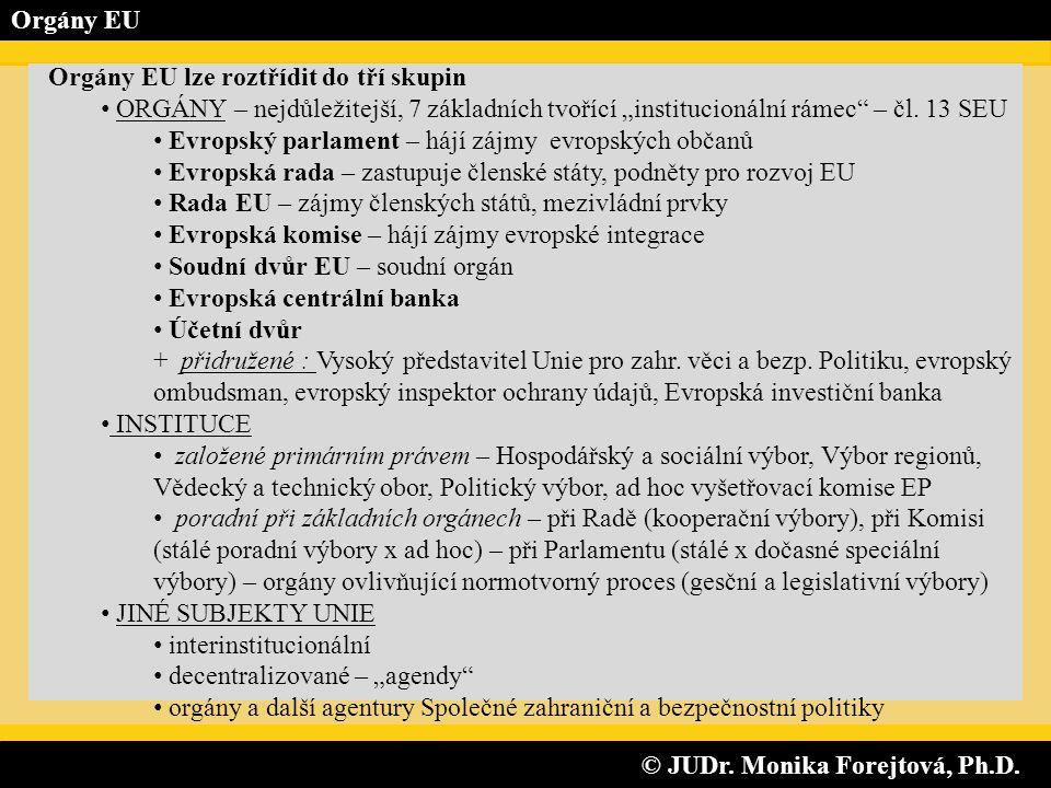 © JUDr. Monika Forejtová, Ph.D. © JUDr. Monika Forejtová, Ph.D. Orgány EU Orgány EU lze roztřídit do tří skupin • ORGÁNY – nejdůležitejší, 7 základníc