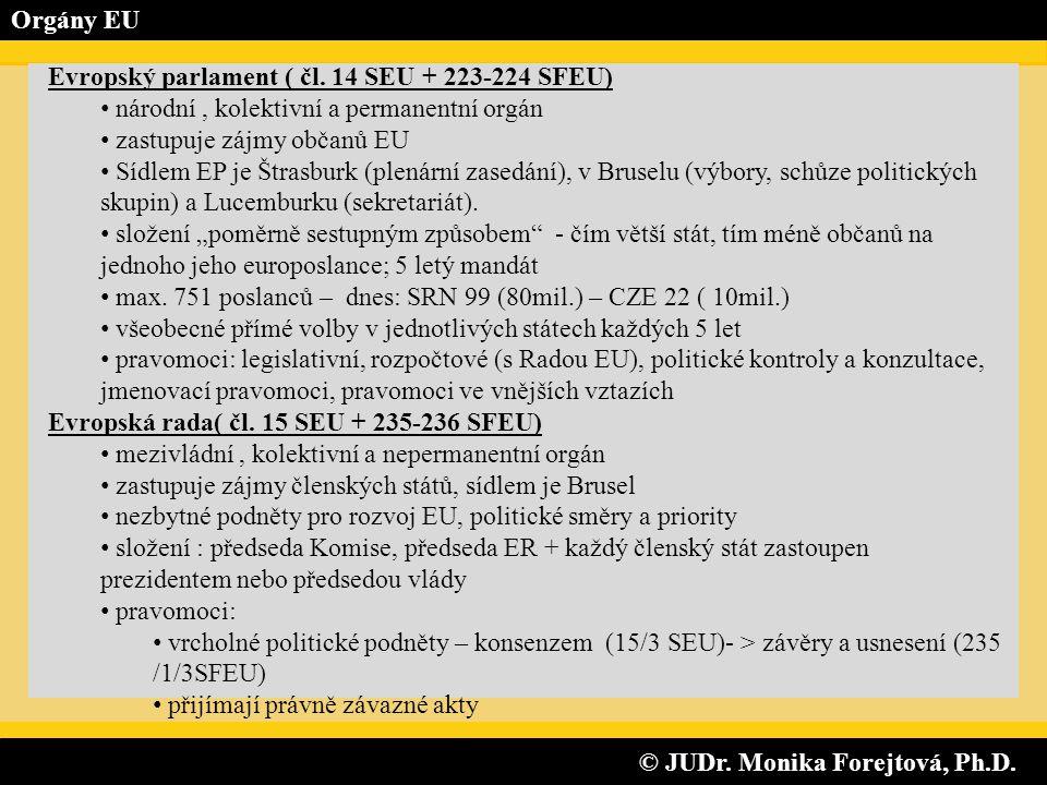 © JUDr. Monika Forejtová, Ph.D. © JUDr. Monika Forejtová, Ph.D. Orgány EU Evropský parlament ( čl. 14 SEU + 223-224 SFEU) • národní, kolektivní a perm