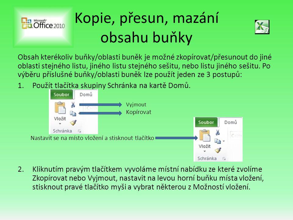 3.Použitím systémových klávesových zkratek: a)CTRL + C …………………kopie vybrané buňky/oblasti do Schránky b)CTRL + X ………………… vyjmutí vybrané buňky/oblasti do Schránky c)CTRL + V ………………… vložení obsahu Schránky na pozici kurzoru Pozor: Zasáhne-li kopírovaná/přesouvaná oblast buněk do již zaplněné oblasti listu, bude tato část bez upozornění přepsána!!.
