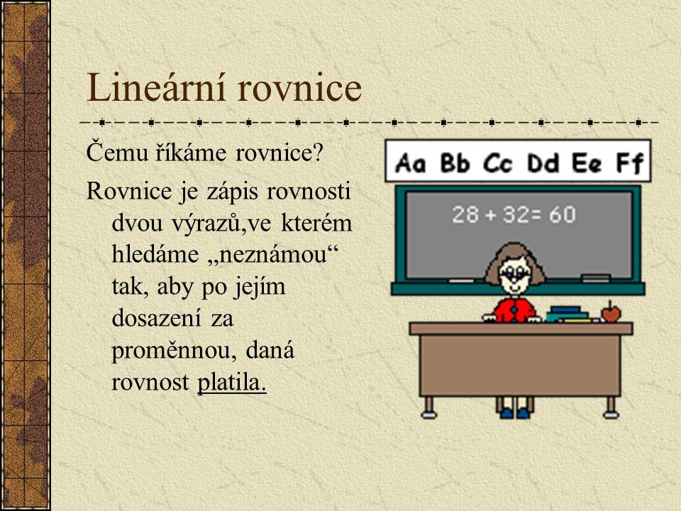 Lineární rovnice Čemu říkáme rovnice.
