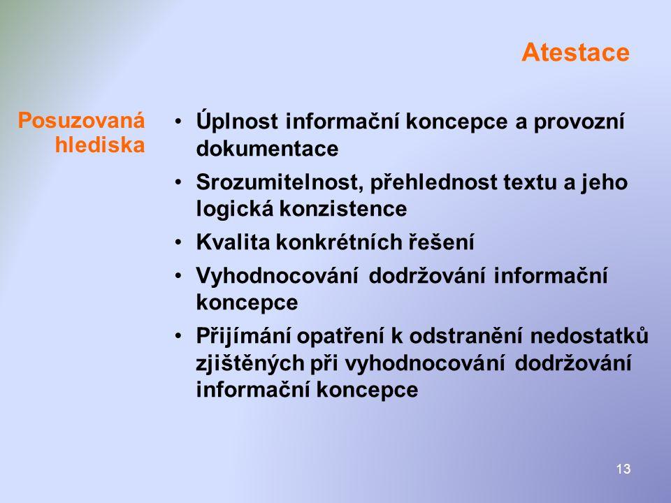 13 Atestace •Úplnost informační koncepce a provozní dokumentace •Srozumitelnost, přehlednost textu a jeho logická konzistence •Kvalita konkrétních řeš