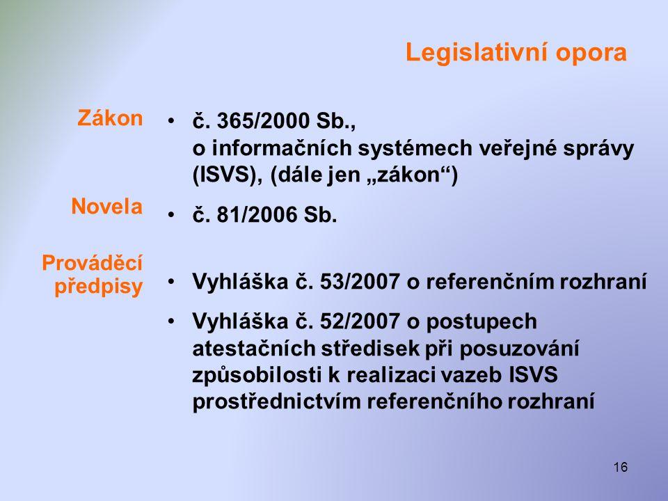 """16 Legislativní opora Zákon Novela Prováděcí předpisy •č. 365/2000 Sb., o informačních systémech veřejné správy (ISVS), (dále jen """"zákon"""") •č. 81/2006"""