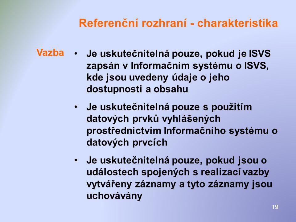 19 Referenční rozhraní - charakteristika •Je uskutečnitelná pouze, pokud je ISVS zapsán v Informačním systému o ISVS, kde jsou uvedeny údaje o jeho do