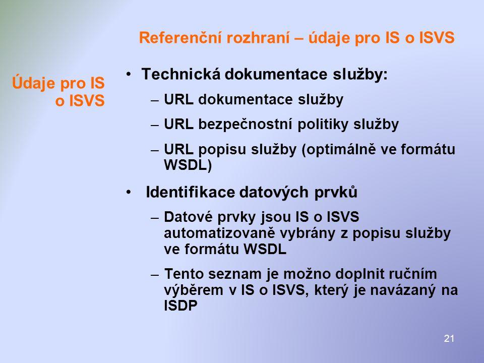 21 Referenční rozhraní – údaje pro IS o ISVS •Technická dokumentace služby: –URL dokumentace služby –URL bezpečnostní politiky služby –URL popisu služ