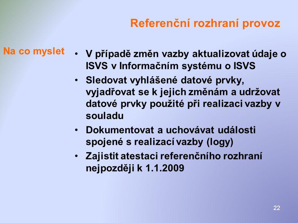 22 Referenční rozhraní provoz •V případě změn vazby aktualizovat údaje o ISVS v Informačním systému o ISVS •Sledovat vyhlášené datové prvky, vyjadřova