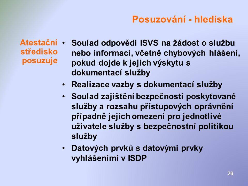 26 Posuzování - hlediska •Soulad odpovědi ISVS na žádost o službu nebo informaci, včetně chybových hlášení, pokud dojde k jejich výskytu s dokumentací