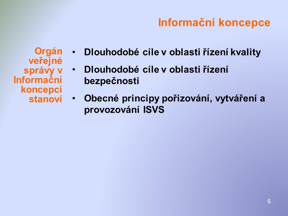 5 Informační koncepce •Dlouhodobé cíle v oblasti řízení kvality •Dlouhodobé cíle v oblasti řízení bezpečnosti •Obecné principy pořizování, vytváření a
