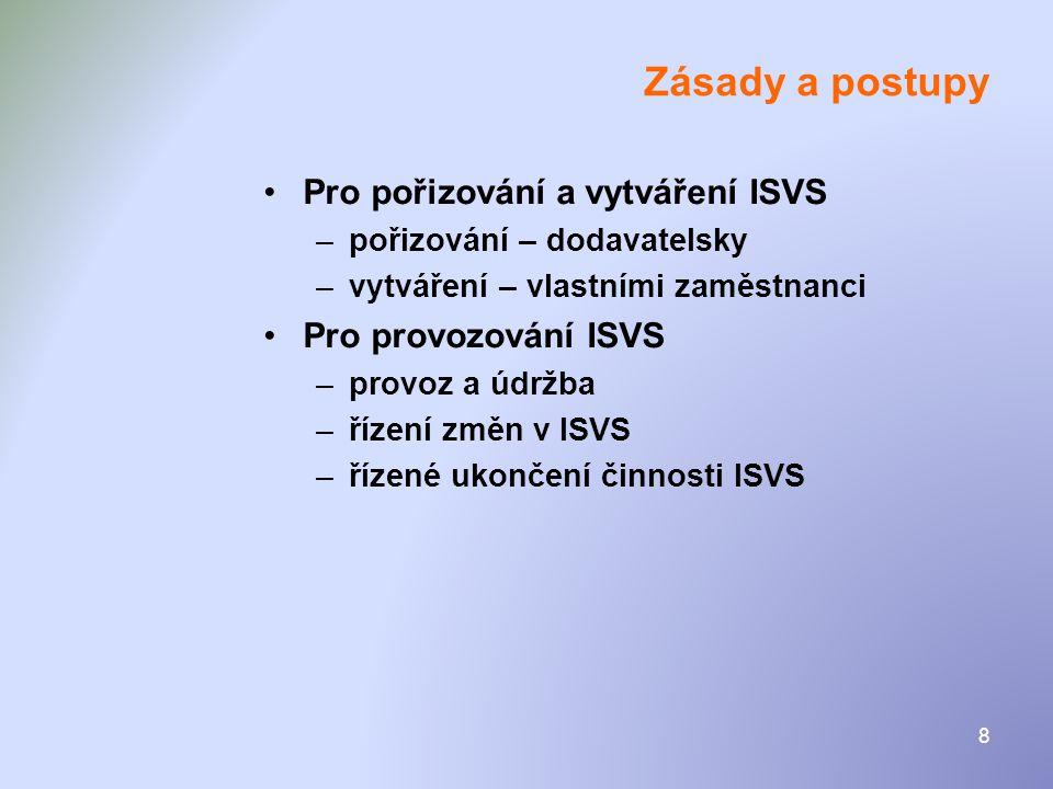 8 Zásady a postupy •Pro pořizování a vytváření ISVS –pořizování – dodavatelsky –vytváření – vlastními zaměstnanci •Pro provozování ISVS –provoz a údrž