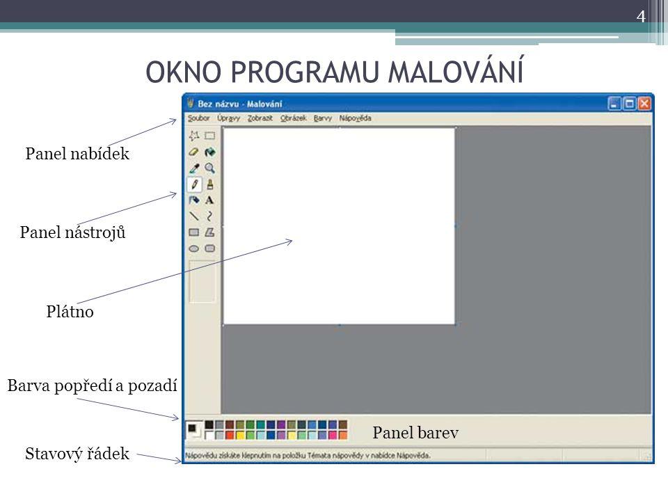 OKNO PROGRAMU MALOVÁNÍ 4 Panel nabídek Panel barev Panel nástrojů Stavový řádek Plátno Barva popředí a pozadí