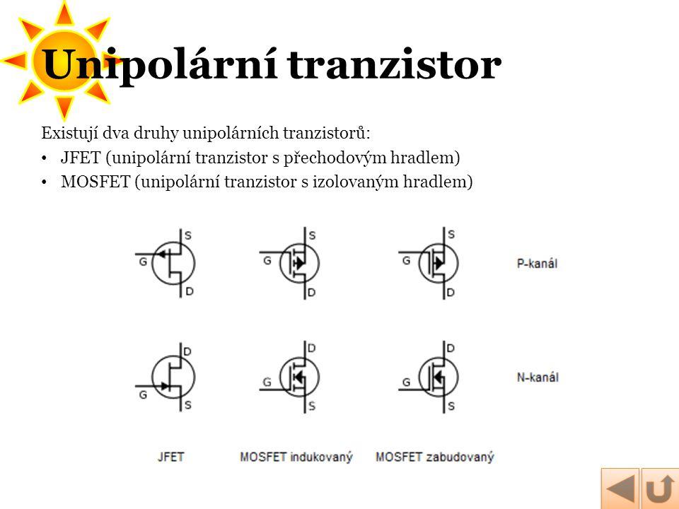Existují dva druhy unipolárních tranzistorů: • JFET (unipolární tranzistor s přechodovým hradlem) • MOSFET (unipolární tranzistor s izolovaným hradlem