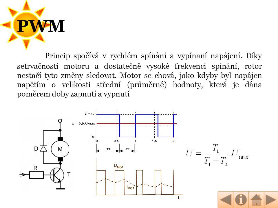 PWM Princip spočívá v rychlém spínání a vypínaní napájení. Díky setrvačnosti motoru a dostatečně vysoké frekvenci spínání, rotor nestačí tyto změny sl