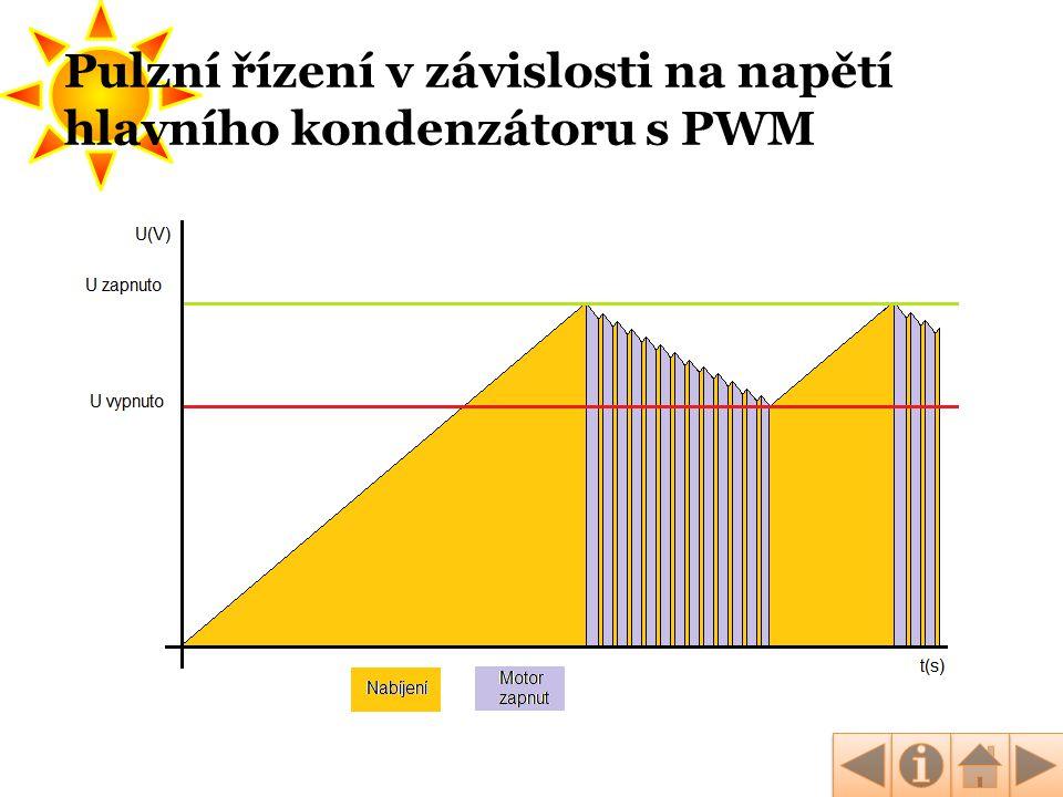Pulzní řízení v závislosti na napětí hlavního kondenzátoru s PWM