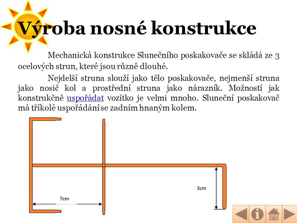Mechanická konstrukce Slunečního poskakovače se skládá ze 3 ocelových strun, které jsou různě dlouhé. Nejdelší struna slouží jako tělo poskakovače, ne