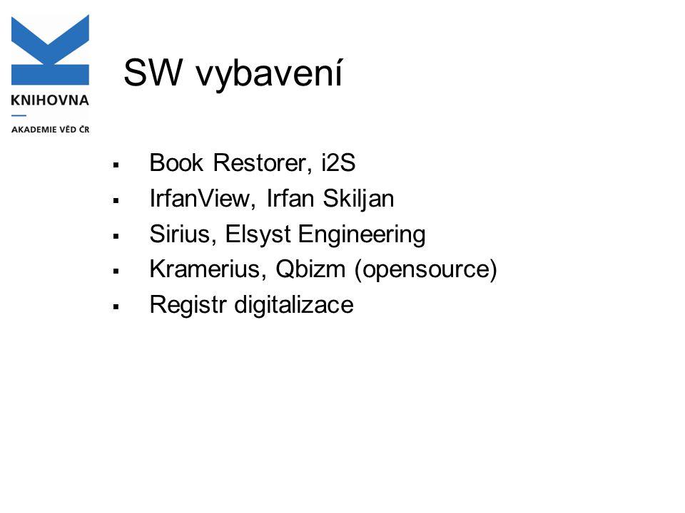 SW vybavení  Book Restorer, i2S  IrfanView, Irfan Skiljan  Sirius, Elsyst Engineering  Kramerius, Qbizm (opensource)  Registr digitalizace