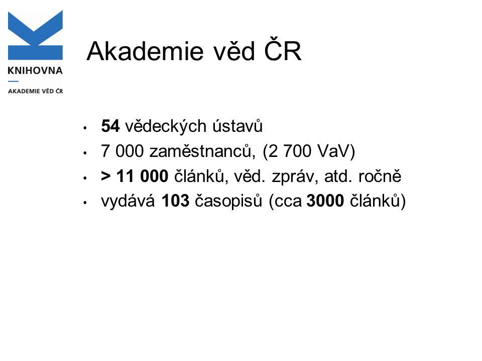 Akademie věd ČR • 54 vědeckých ústavů • 7 000 zaměstnanců, (2 700 VaV) • > 11 000 článků, věd. zpráv, atd. ročně • vydává 103 časopisů (cca 3000 článk