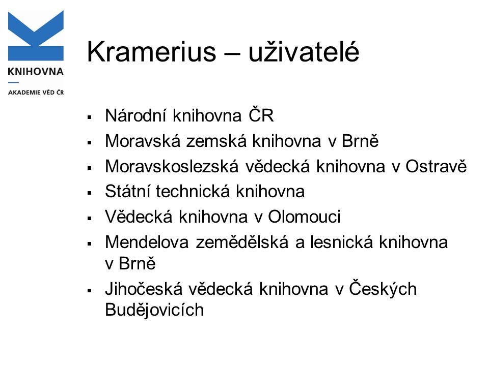 Kramerius – uživatelé  Národní knihovna ČR  Moravská zemská knihovna v Brně  Moravskoslezská vědecká knihovna v Ostravě  Státní technická knihovna