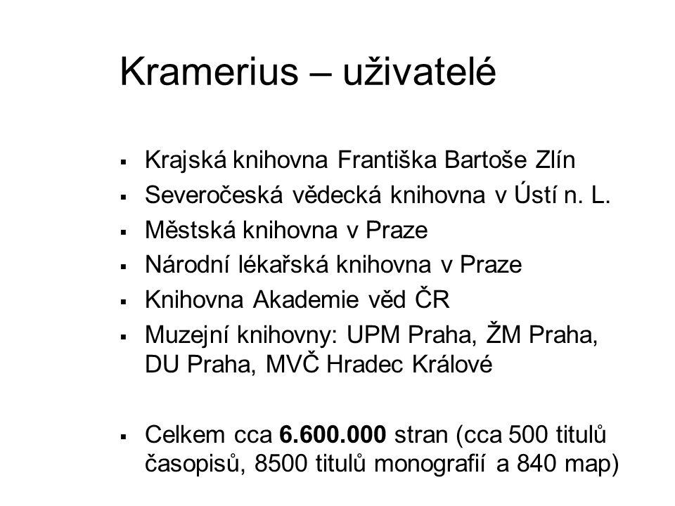 Kramerius – uživatelé  Krajská knihovna Františka Bartoše Zlín  Severočeská vědecká knihovna v Ústí n. L.  Městská knihovna v Praze  Národní lékař