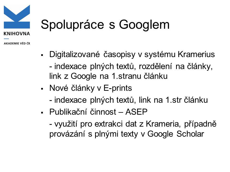 Spolupráce s Googlem  Digitalizované časopisy v systému Kramerius - indexace plných textů, rozdělení na články, link z Google na 1.stranu článku  No