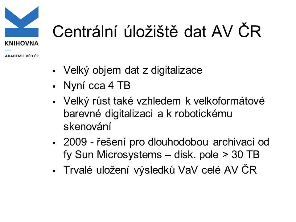 Centrální úložiště dat AV ČR  Velký objem dat z digitalizace  Nyní cca 4 TB  Velký růst také vzhledem k velkoformátové barevné digitalizaci a k robotickému skenování  2009 - řešení pro dlouhodobou archivaci od fy Sun Microsystems – disk.