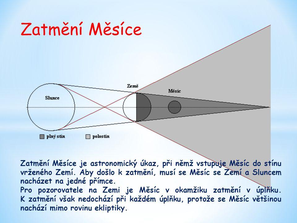 Zatmění Měsíce Zatmění Měsíce je astronomický úkaz, při němž vstupuje Měsíc do stínu vrženého Zemí. Aby došlo k zatmění, musí se Měsíc se Zemí a Slunc