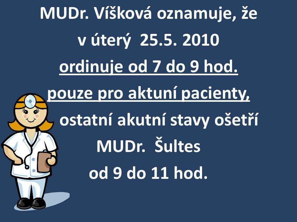 MUDr. Víšková oznamuje, že v úterý 25.5. 2010 ordinuje od 7 do 9 hod. pouze pro aktuní pacienty, ostatní akutní stavy ošetří MUDr. Šultes od 9 do 11 h