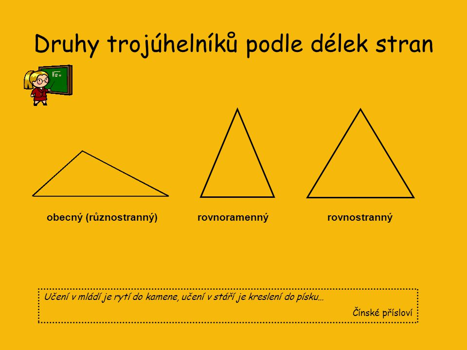 Co už víme o trojúhelníku? •Trojúhelník je rovinný útvar, který má tři vrcholy, tři strany a tři vnitřní úhly. •vrcholy jsou body A, B, C •strany jsou