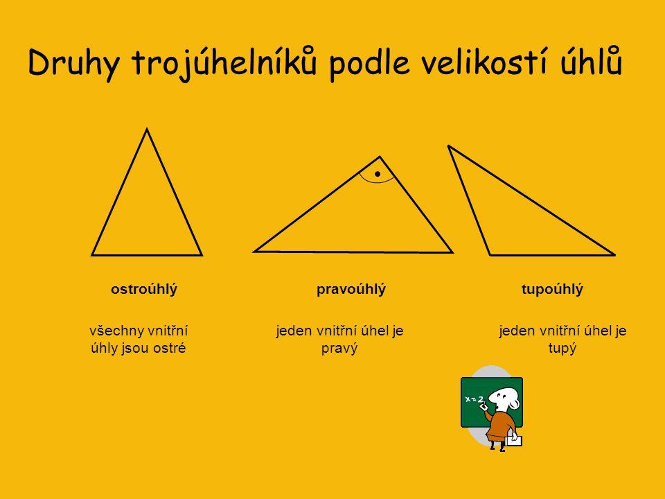Druhy trojúhelníků podle délek stran obecný (různostranný)rovnoramennýrovnostranný Učení v mládí je rytí do kamene, učení v stáří je kreslení do písku