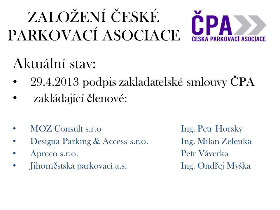 ZALO Ž ENÍ Č ESKÉ PARKOVACÍ ASOCIACE Aktuální stav: • 29.4.2013 podpis zakladatelské smlouvy Č PA • zakládající č lenové: • MOZ Consult s.r.oIng.