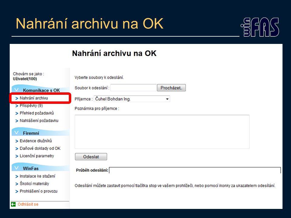 Nahrání archivu na OK