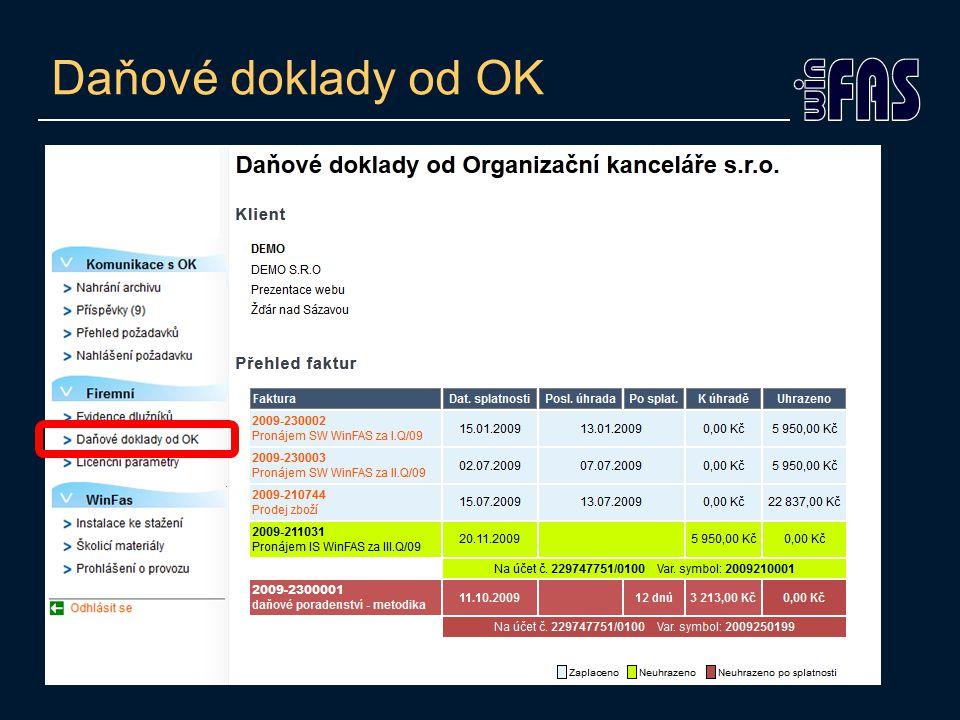 Daňové doklady od OK
