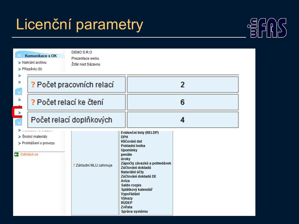 Licenční parametry
