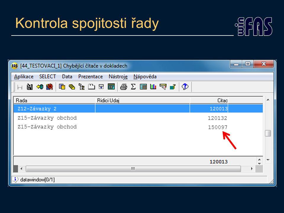 Kontrola spojitosti řady Z15-Závazky obchod 120132 150097