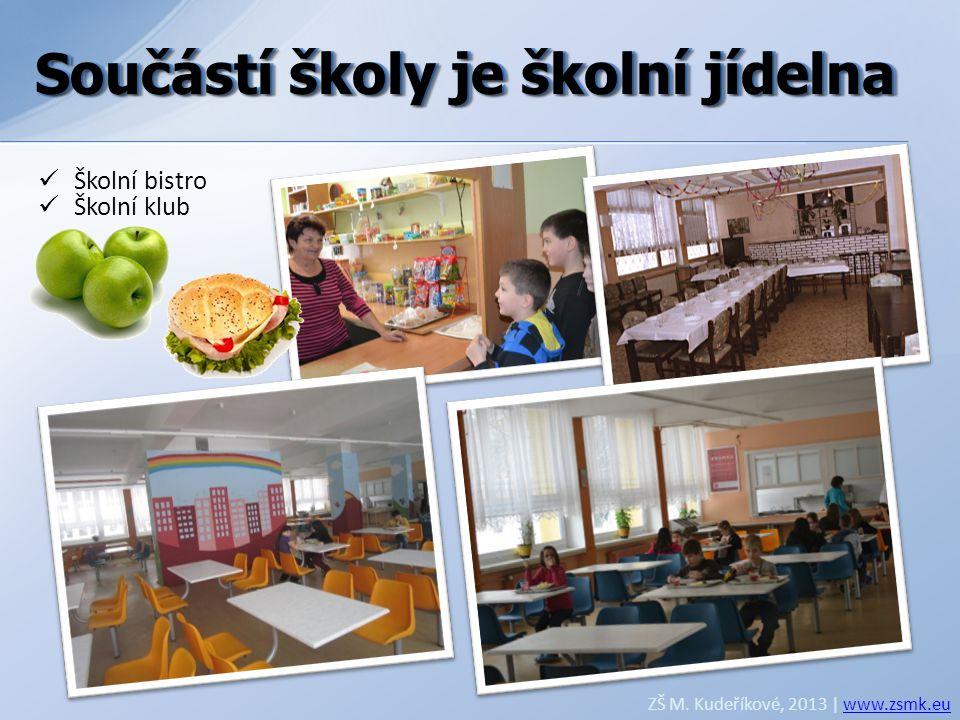Součástí školy je školní jídelna ZŠ M. Kudeříkové, 2013 | www.zsmk.euwww.zsmk.eu  Školní bistro  Školní klub