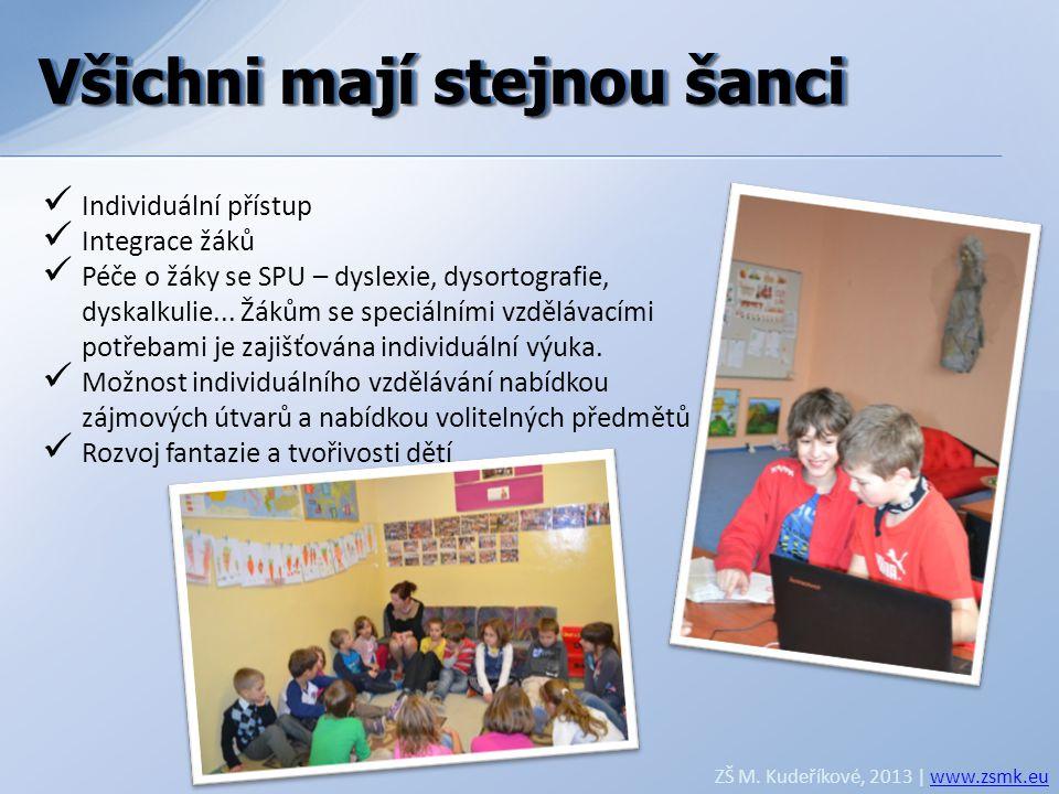 Všichni mají stejnou šanci ZŠ M. Kudeříkové, 2013 | www.zsmk.euwww.zsmk.eu  Individuální přístup  Integrace žáků  Péče o žáky se SPU – dyslexie, dy