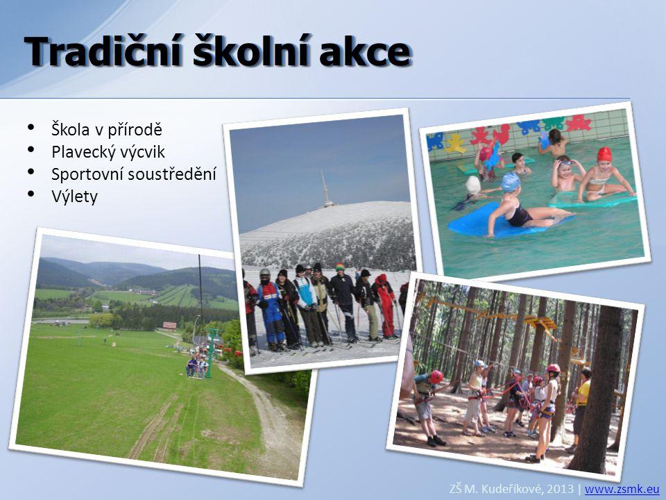 Tradiční školní akce ZŠ M. Kudeříkové, 2013 | www.zsmk.euwww.zsmk.eu • Škola v přírodě • Plavecký výcvik • Sportovní soustředění • Výlety