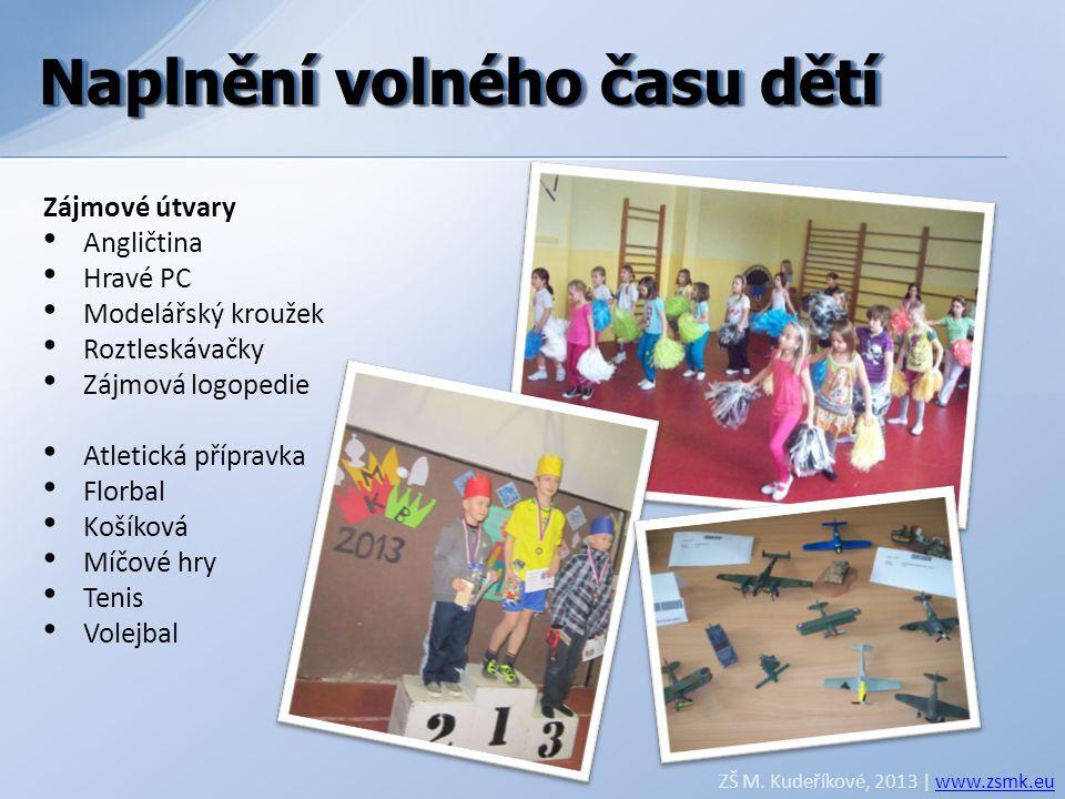 Naplnění volného času dětí ZŠ M. Kudeříkové, 2013 | www.zsmk.euwww.zsmk.eu Zájmové útvary • Angličtina • Hravé PC • Modelářský kroužek • Roztleskávačk