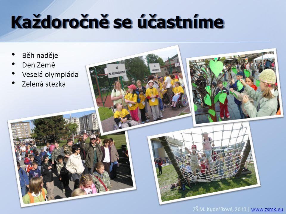 Každoročně se účastníme ZŠ M. Kudeříkové, 2013 | www.zsmk.euwww.zsmk.eu • Běh naděje • Den Země • Veselá olympiáda • Zelená stezka