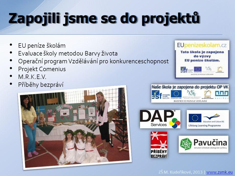 Zapojili jsme se do projektů ZŠ M. Kudeříkové, 2013 | www.zsmk.euwww.zsmk.eu • EU peníze školám • Evaluace školy metodou Barvy života • Operační progr