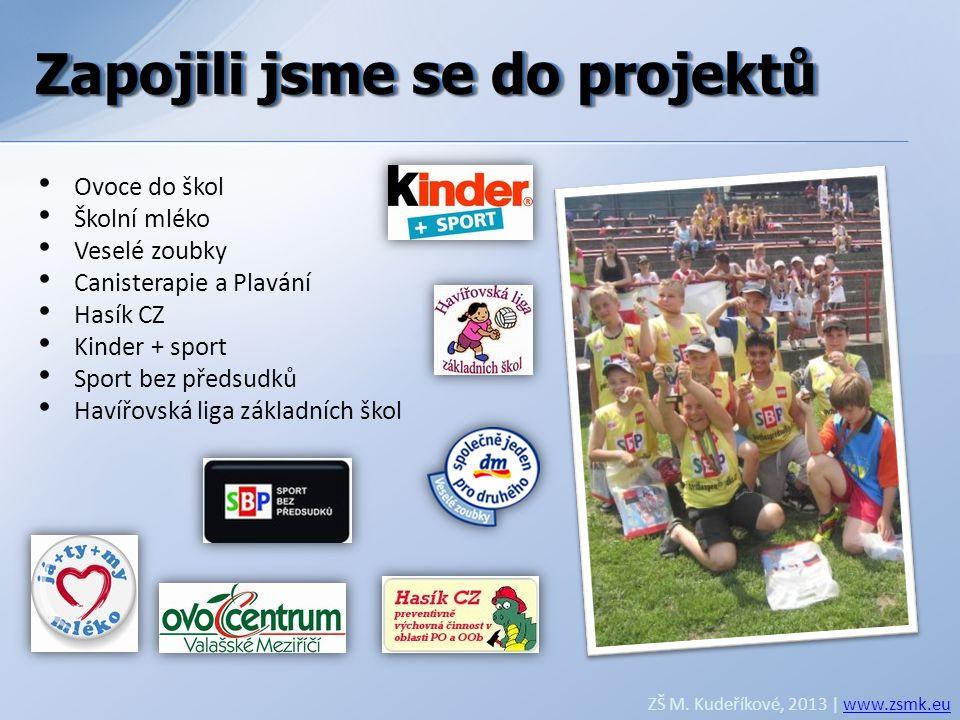Zapojili jsme se do projektů ZŠ M. Kudeříkové, 2013 | www.zsmk.euwww.zsmk.eu • Ovoce do škol • Školní mléko • Veselé zoubky • Canisterapie a Plavání •