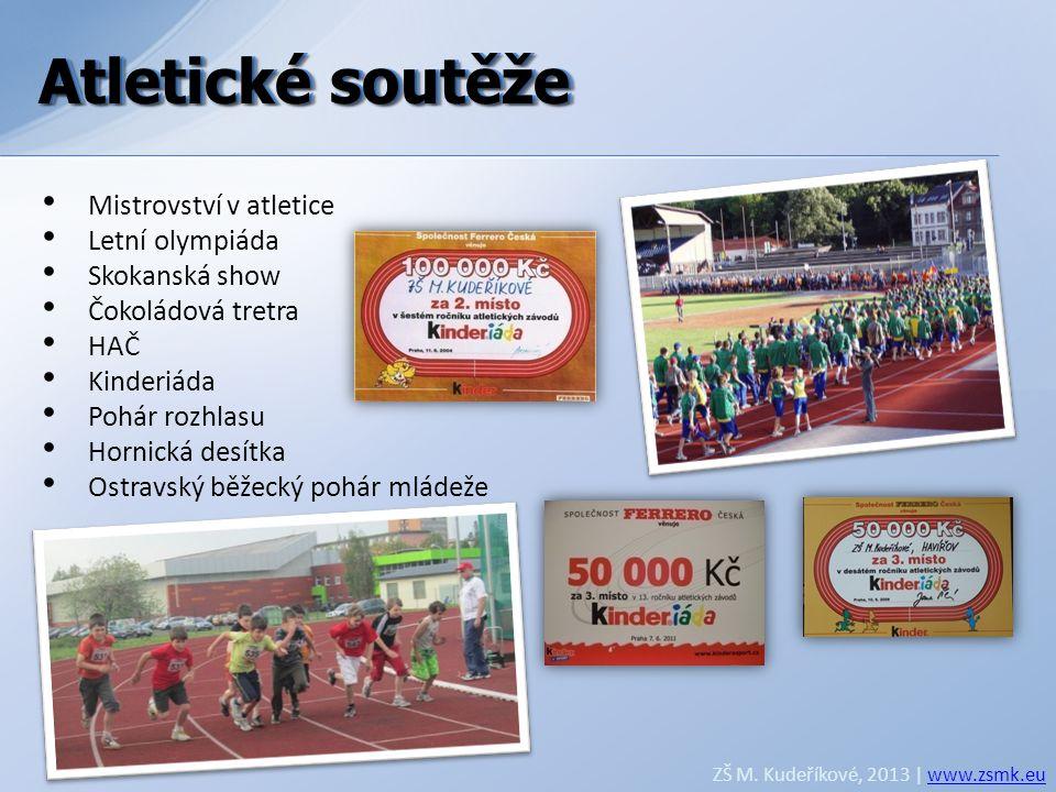 Atletické soutěže ZŠ M. Kudeříkové, 2013 | www.zsmk.euwww.zsmk.eu • Mistrovství v atletice • Letní olympiáda • Skokanská show • Čokoládová tretra • HA