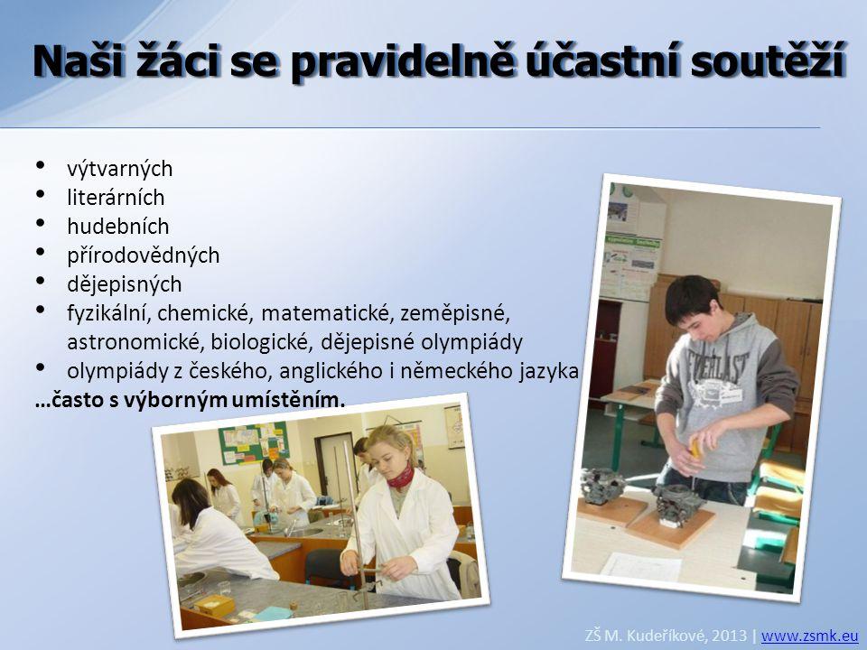 Naši žáci se pravidelně účastní soutěží ZŠ M. Kudeříkové, 2013 | www.zsmk.euwww.zsmk.eu • výtvarných • literárních • hudebních • přírodovědných • děje