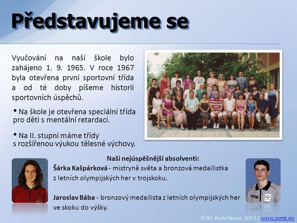 Naši nejúspěšnější absolventi: Šárka Kašpárková - mistryně světa a bronzová medailistka z letních olympijských her v trojskoku. Jaroslav Bába - bronzo