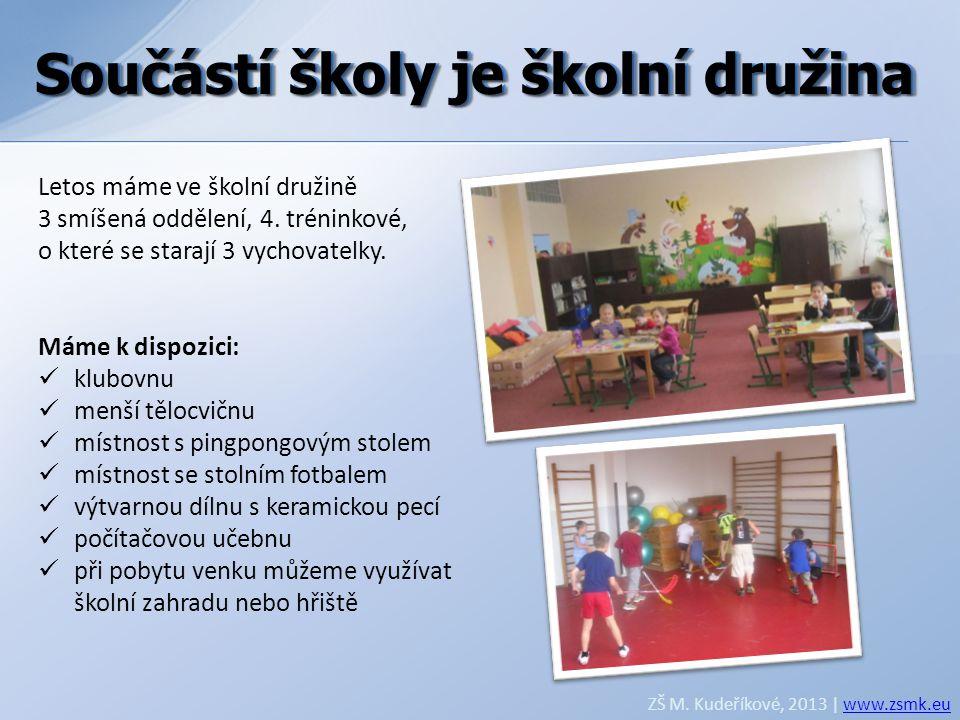Součástí školy je školní družina ZŠ M. Kudeříkové, 2013 | www.zsmk.euwww.zsmk.eu Letos máme ve školní družině 3 smíšená oddělení, 4. tréninkové, o kte