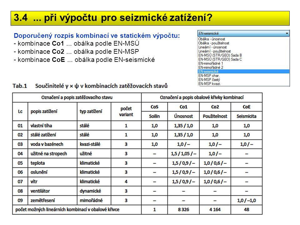 Doporučený rozpis kombinací ve statickém výpočtu: - kombinace Co1... obálka podle EN-MSÚ - kombinace Co2... obálka podle EN-MSP - kombinace CoE... obá